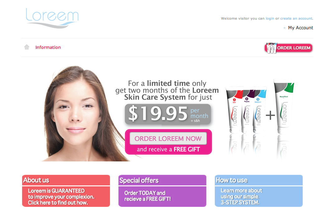 Loreem Skincare E-Commerce Site